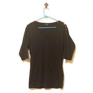 Black Gap V-neck Shirt, 3/4 Sleeves, Sz XS